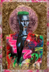 Grace Jones by Dan Pearce - Original Mixed Media on Board sized 32x47 inches. Available from Whitewall Galleries